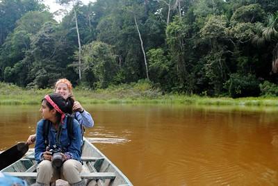 Mari and Rebia canoeing on the lake