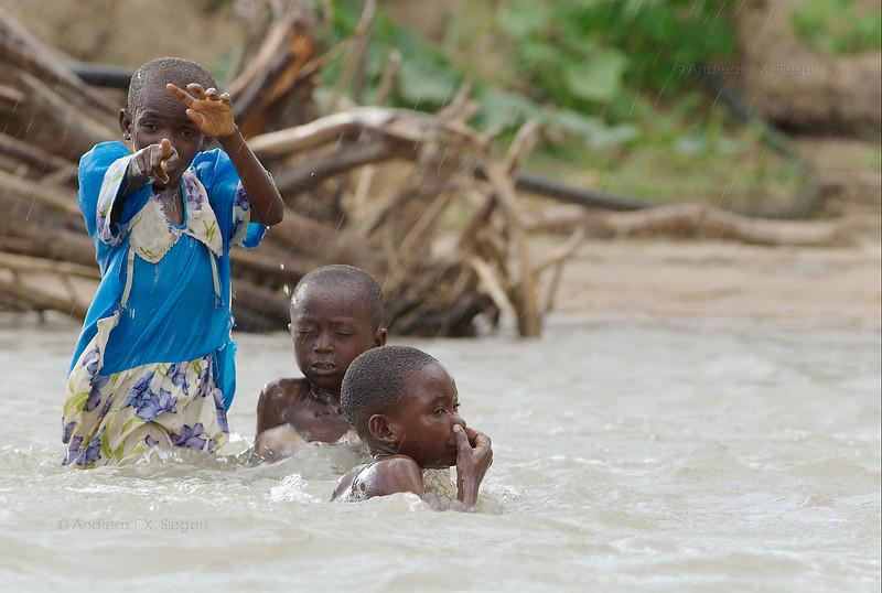 Kids having fun in the Rufiji river
