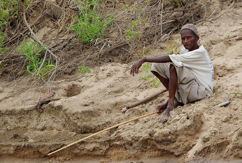Fisherman on the Rufiji river bank