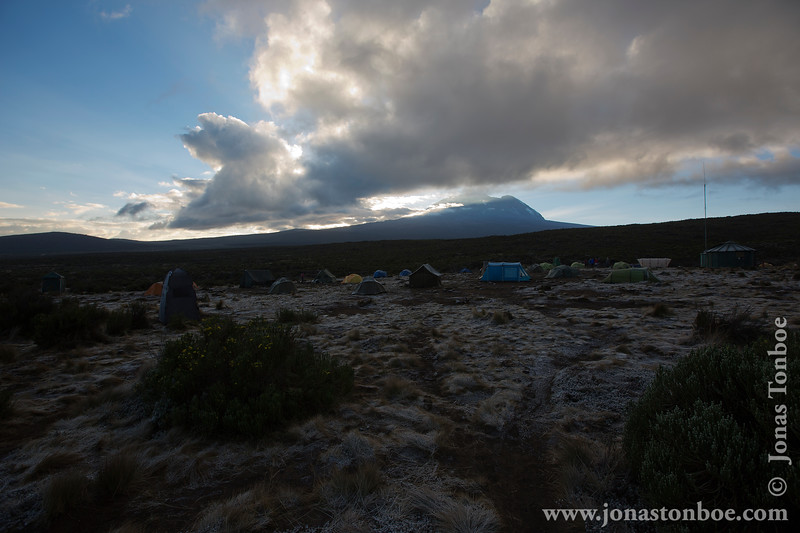 Shira 1 Camp at 3500 Meters - Mt. Kilimanjaro Summit Covered in Clouds