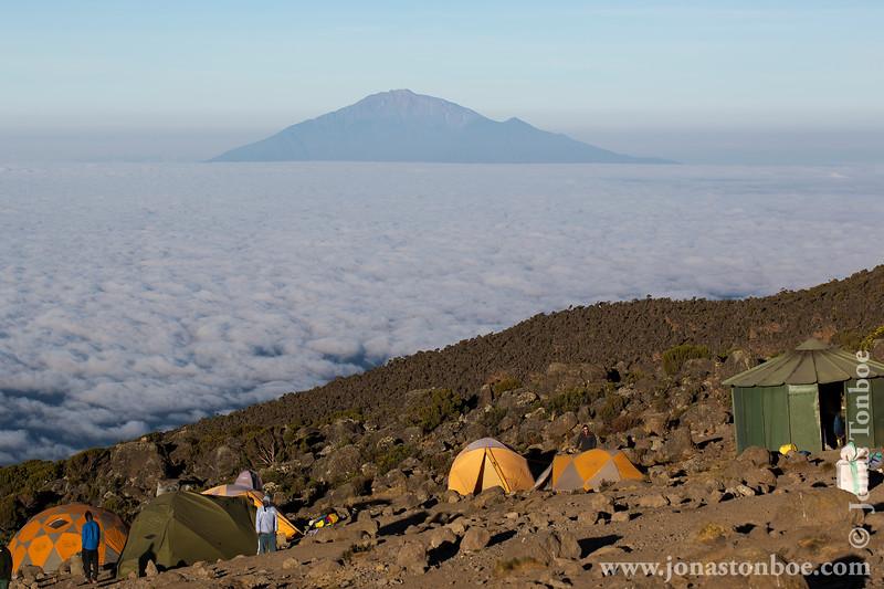 Karanga Camp at 3900 Meters - Tents and Mt. Meru