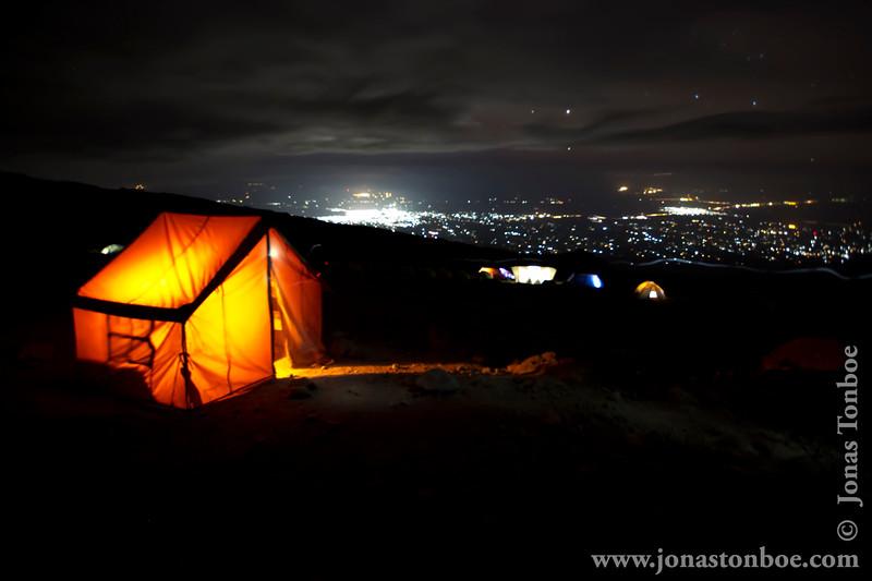 Karanga Camp at 3900 Meters - Dinner Tent and Moshi City Lights