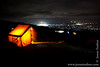 Karanga Camp at 3900 Meters - Dinner Tent and Moshi City Lights