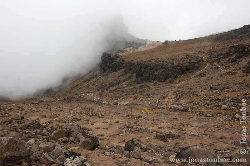 Side Trail to Arrow Glacier Camp and Cloudy View of Lava Tower
