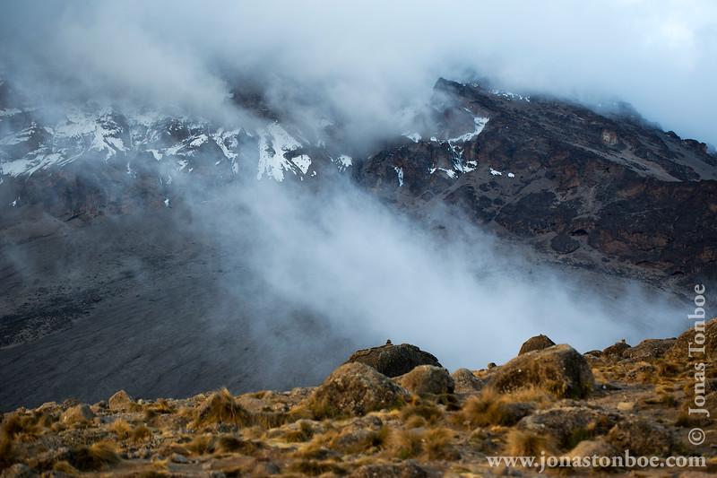 Karanga Camp at 3900 Meters - Mt. Kilimanjaro Summit Covered in Clouds