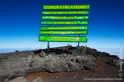 Mt. Kilimanjaro Private Trek - Lemosho Route: Mt. Kilimanjaro summit - Uhuru Point summit sign