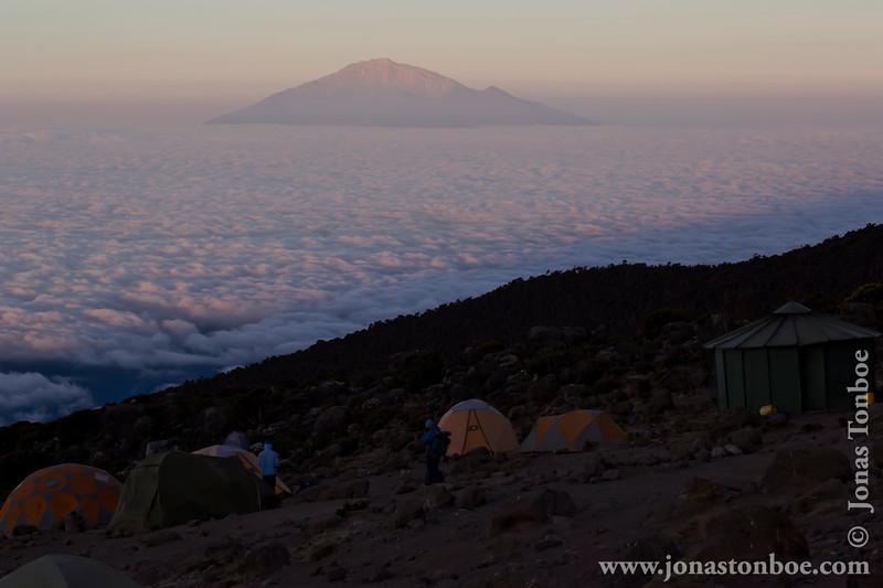 Karanga Camp at 3900 Meters - Camp Tents and Mt. Meru