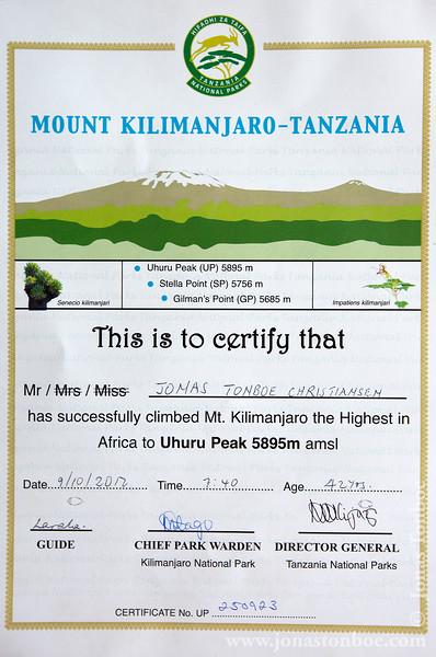 Mt. Kilimanjaro Summit Certificate