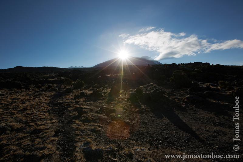 Shira 2 Camp at 3840 Meters - Sunrise Over Mt. Kilimanjaro Summit