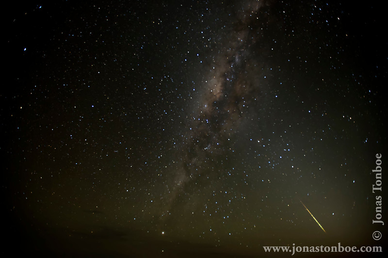 Shira 2 Camp at 3840 Meters - Milky Way and Meteor