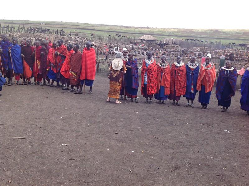 The  Maasai community welcomes the WBGC travelers. Photo by Eva J Yeo