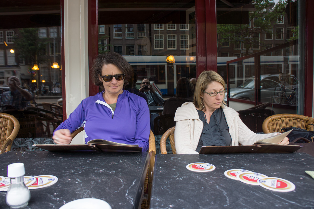 Lisa and Trish contemplate the first meal in Amsterdam.