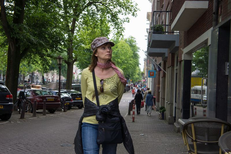 Cindy walking in Amsterdam.