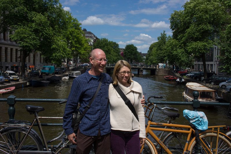 John and Trish on a bridge in Amsterdam.