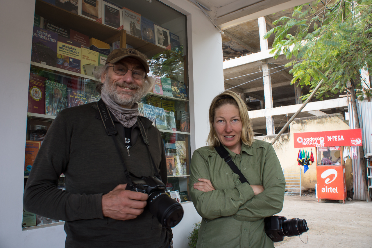 Paul and Trish outside the bookstore in Arusha.