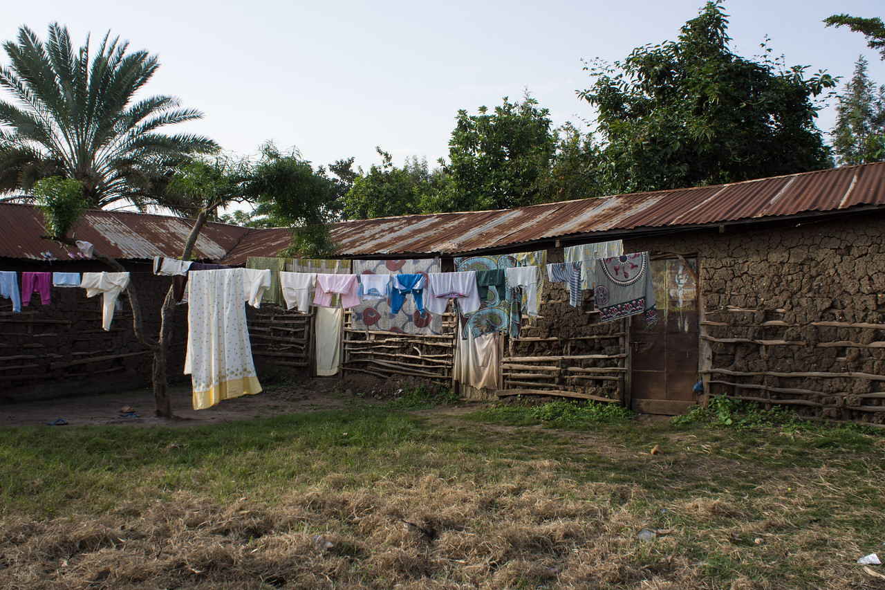 Laundry and courtyard of a large house in the village.