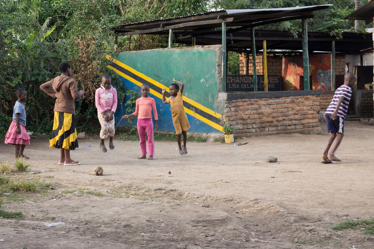Children playing in the shcool yard.