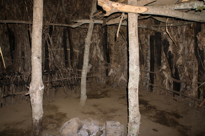 Inside a traditional Meru hut.