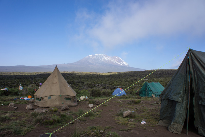 Cook and mess tent with Kibo in the distance.