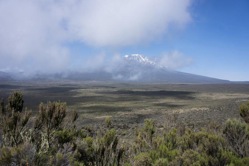 Full view of Kibo after cresting Shira Ridge.