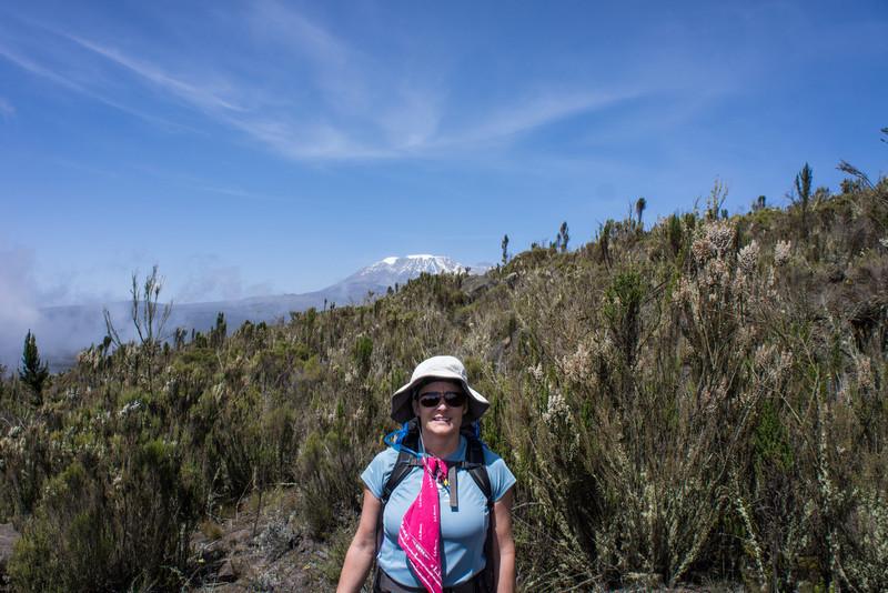 Lisa with Kibo over ridge.