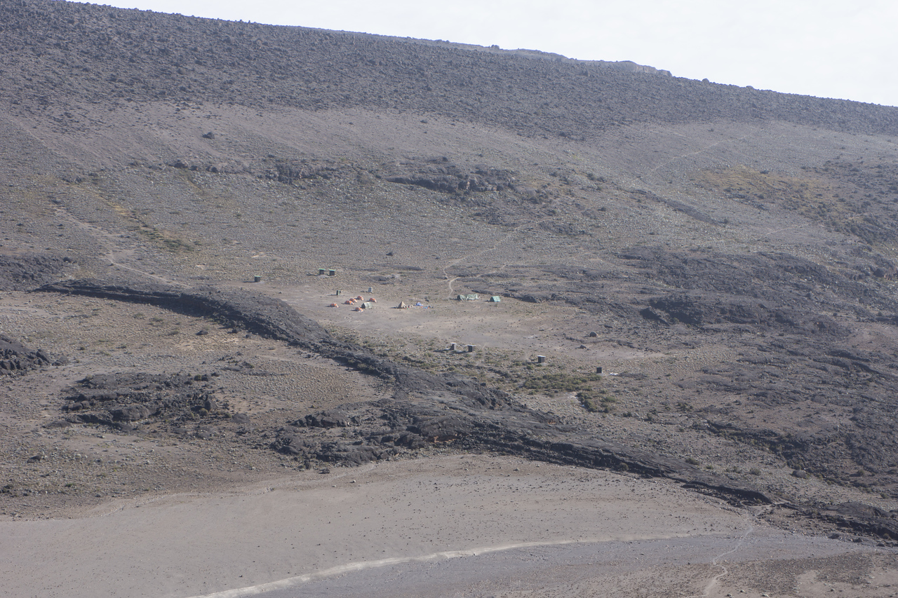 Looking back at Moir Camp from high on the lava flow.
