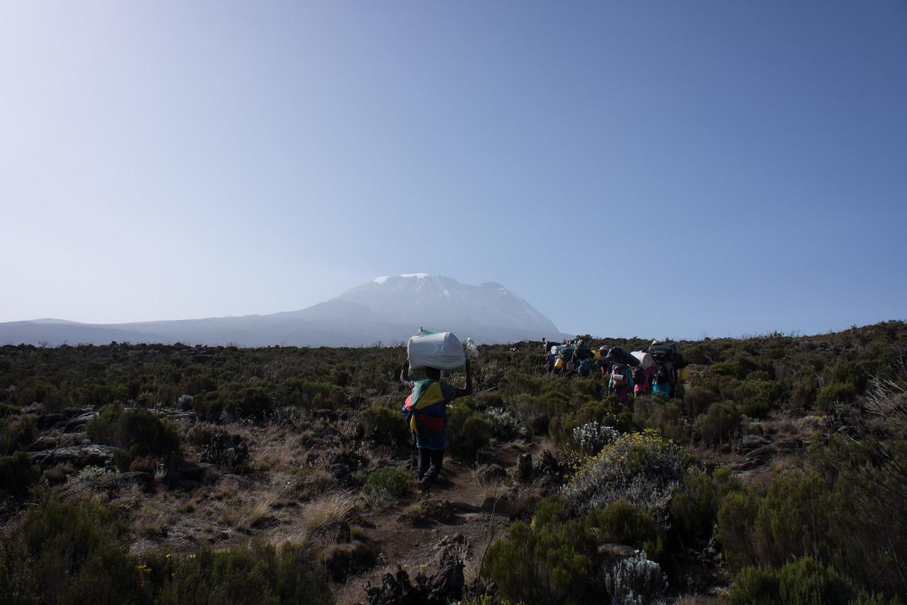 Porters on the trail towards Kibo.