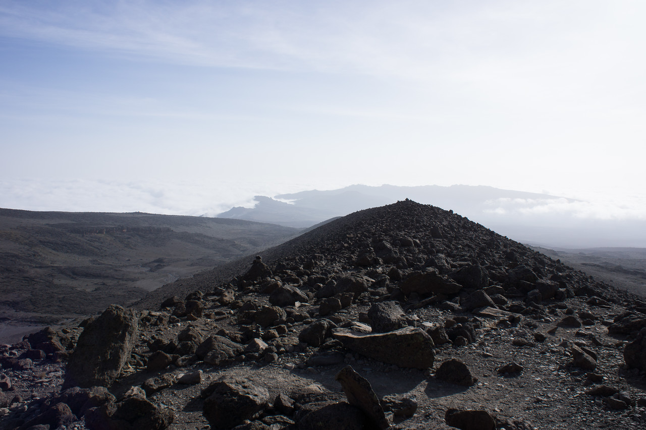 Looking down the lava flow at the clouds below us.
