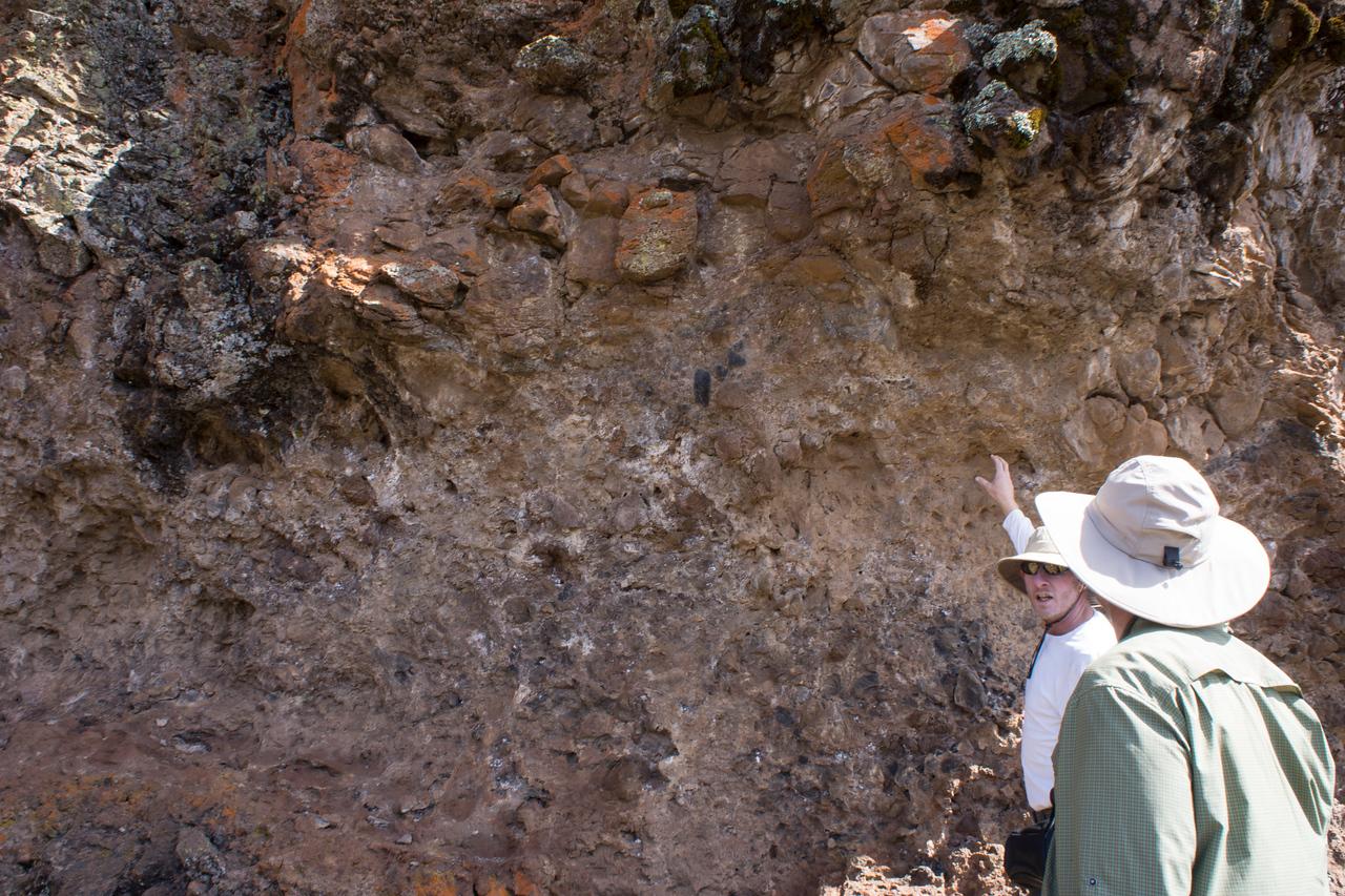 John explains the geology of the rock.