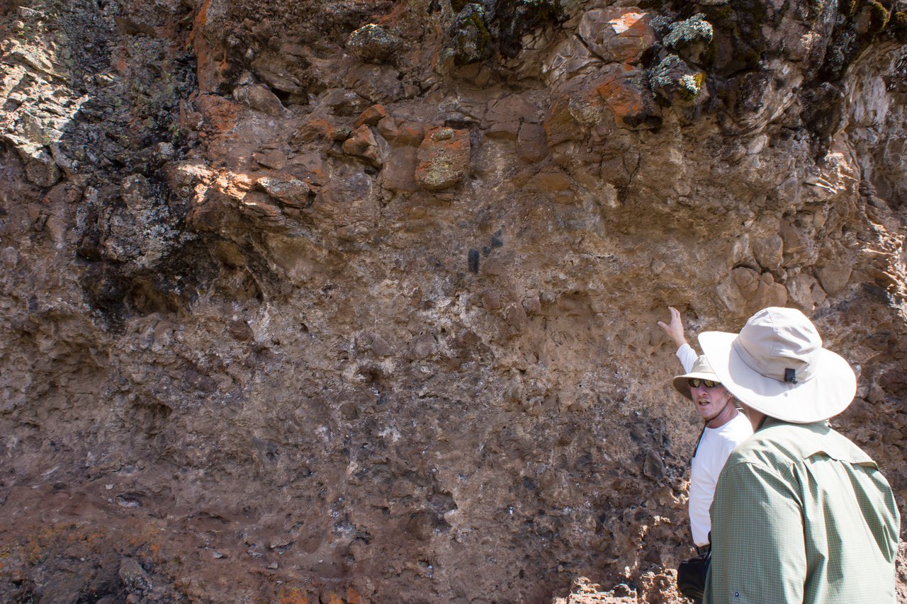 John explains the geology of the rock.