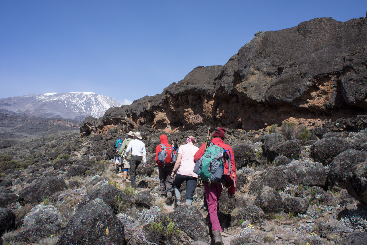 Hiking along a lava flow on the way to Moir Camp.