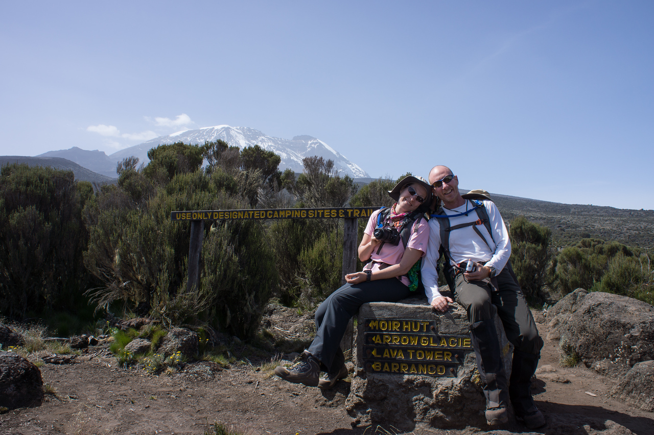 Trish and John at the signpost.