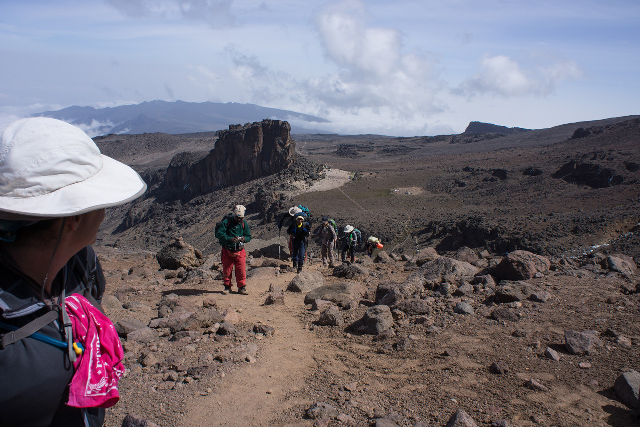 Lisa looks back at the group coming up from Lava Tower.