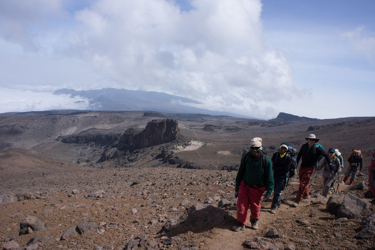 Keefa, team photographer, leading the way above Lava Tower.