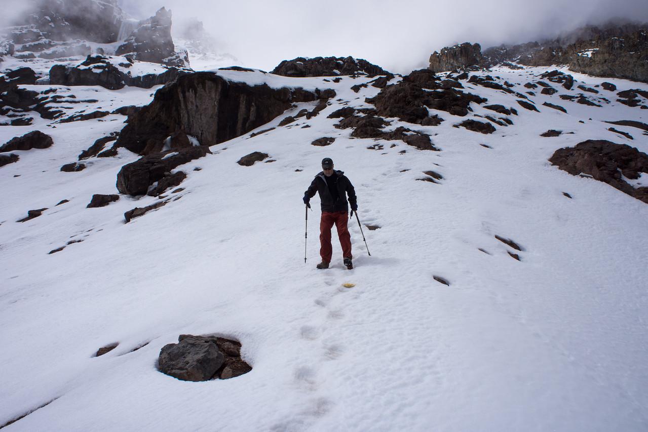Larry descending the snow.