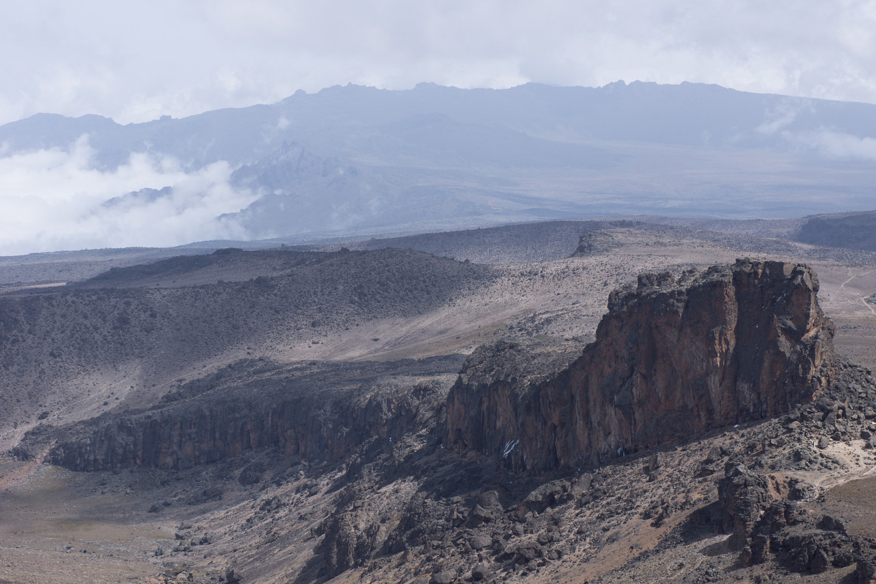 Lava Tower. To the right you can see the trail in. To the left, the clouds below us.
