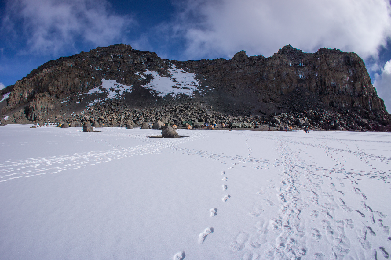 Crater Camp and Uhuru Peak above it.