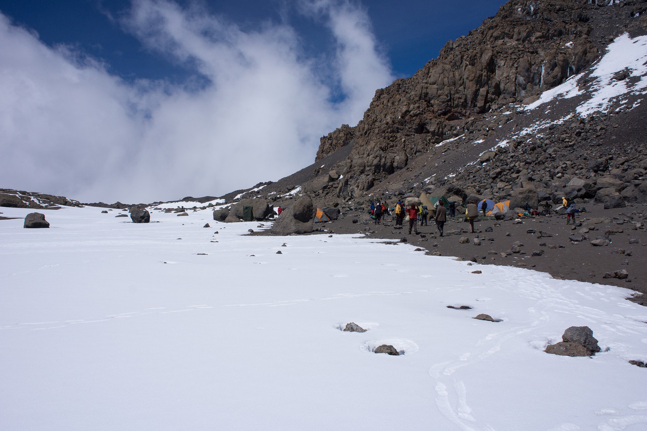Crater Camp, right below the summit trail for our morning ascent.