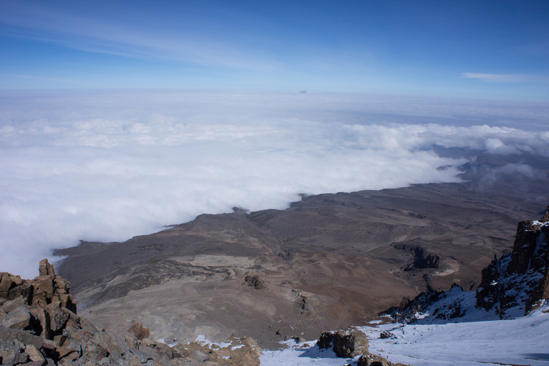 Sea of clouds and Mt. Meru below the Western Breach.