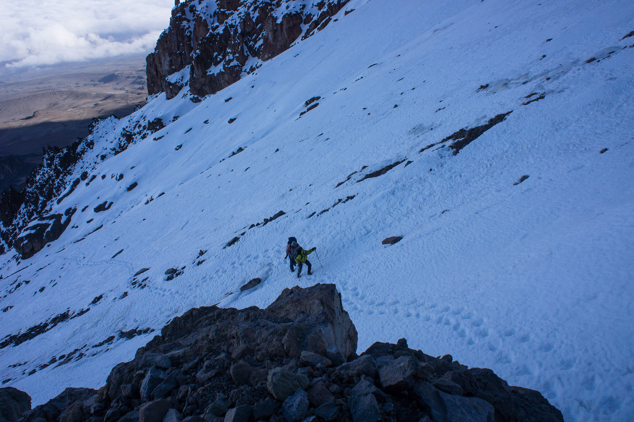 Guides climbing up the snowfield.