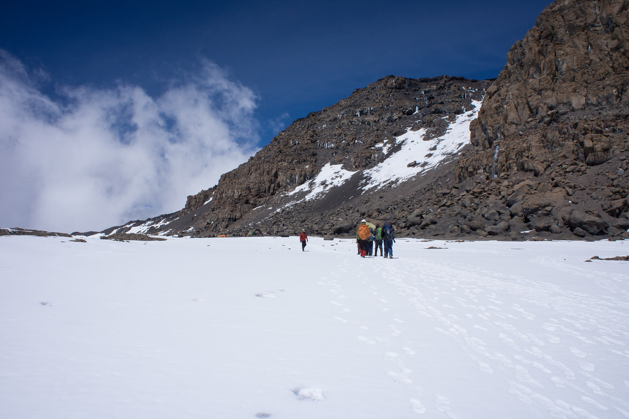 Heading towards camp. The sign on Uhur peak is visible above.