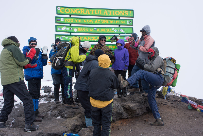 Singing Happy Birthday to Larry on the summit.