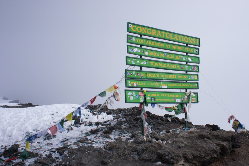 Sign on the summit of Uhuru Peak.