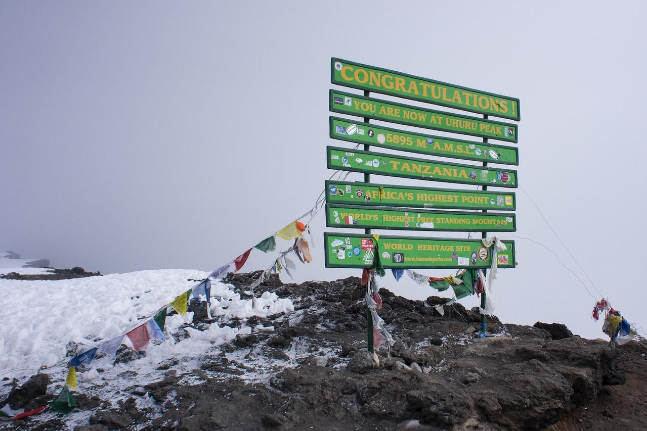 Sign on the summit of Uhuru Peak.