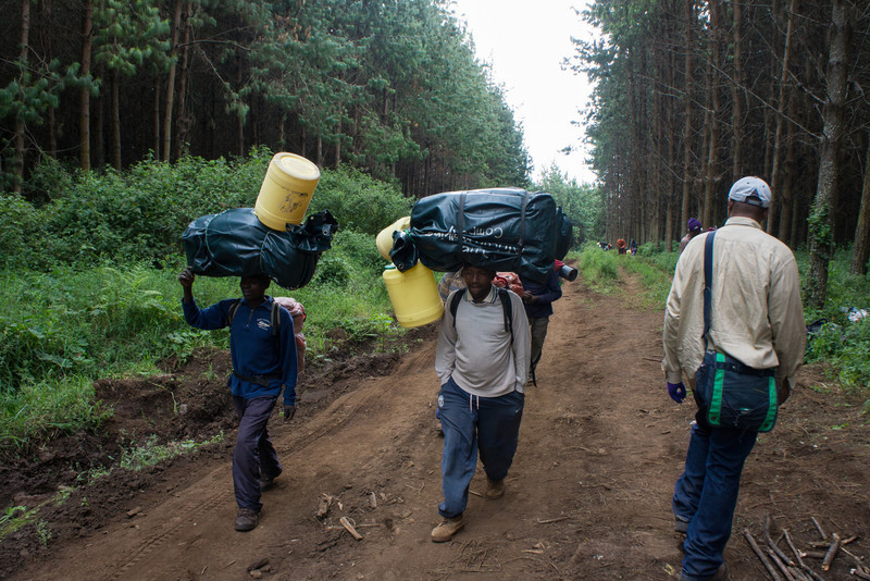 The porters start up the road.