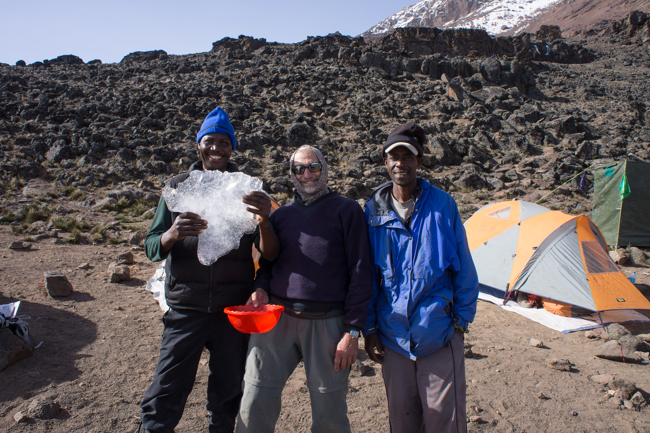 Paul found some ice in the shape of Africa. The camp guys loved it.