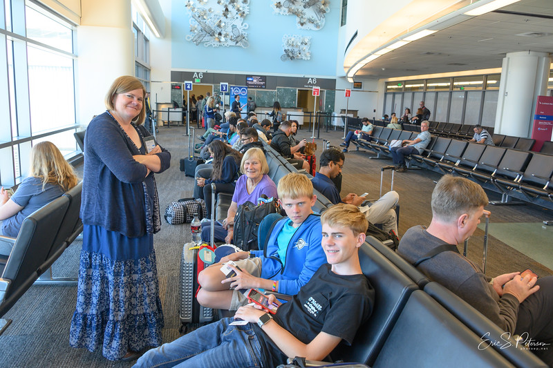 Waiting at SFO for the first leg of our flight to JRO.