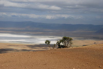 Taken from the crater rim looking onto Lake Makat, a soda lake.