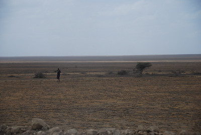 Maasai tribesman in the middle of nowhere.