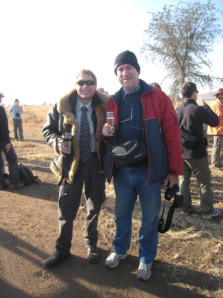 The balloon flight was followed by a champagne breakfast.  Colin's starting on the champagne and Nick sticks to coffee.